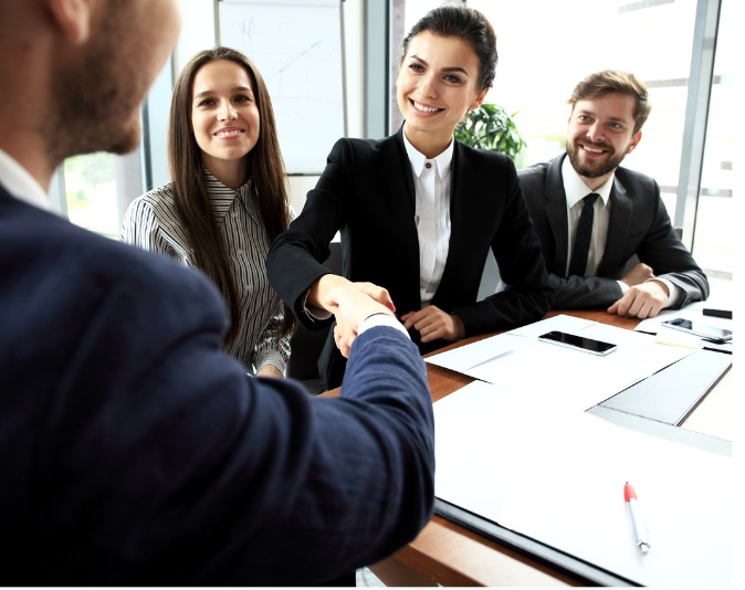 business-people-shaking-hands-finishing-up-meeting-picture-id618329156